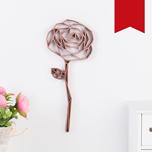 KLEINLAUT 3D-Origamis aus Holz - Wähle Ein Motiv & Farbe - Rose - 7,9 x 20 cm (M) - Rot
