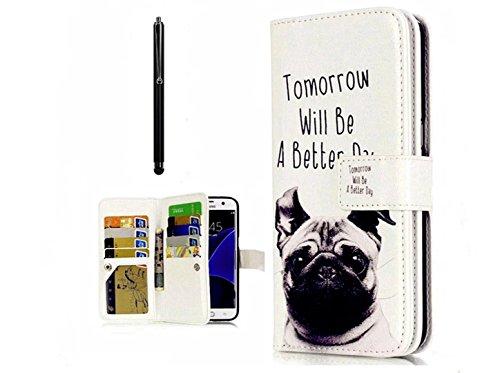 KSHOP Schutzhülle für Samsung Galaxy NOTE 5 Handyhülle Handytasche PU Leder Ultra Slim Smart Ledertasche Flip Standfunktion mit Brieftasche Anti-Scratch Magnetverschluss+ Bleistift Touch schwarz - Muster schönen Hund