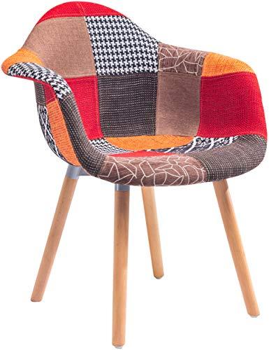 ts-ideen Design Klassiker Patchwork Sessel Retro 50er Jahre Barstuhl Wohnzimmer Büro Küchen Stuhl Esszimmer Sitz Holz Stoff Bunt Rot