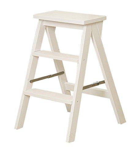 CAIJUN Falten Leiter Massivholz Mehrzweck Stephocker Innen Tragbar Buche Einfach Die Leiter Hinaufsteigen Klappstufen (Farbe : Weiß)