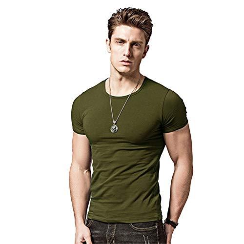 T-Shirt Uomo Maglie Maniche Corta Camicie Tinta Unita Estiva Moda Casuale Girocollo...