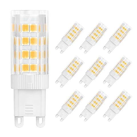 WENFENG G9 LED Lampe, Ersatz 5W 45W Halogen LED Glühbirnen , 2700K Warmweiss, Standard G9 Fassung, LED Leuchtmittel 450LM, 360°Abstrahlwinkel, 9er-Pack [Energieklasse A+]