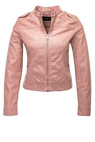VERO MODA Damen Jacke Vmalice Short Faux Leather Jacket Boos, Rosa (Old Rose), 38 (Herstellergröße: M)