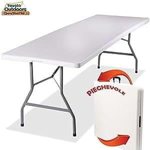 Bakaji tavolo pieghevole in resina hdpe 244 x 76 x 72 cm struttura in metallo rinforzato - Tavolo pieghevole con maniglia ...