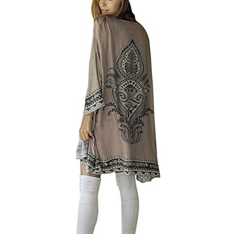 Shawl Blouses, Kingwo Women's Loose Cover Ups 8428 Kimono Cardigan Oversized Summer Chiffon Shawl Blouses Gray (L)