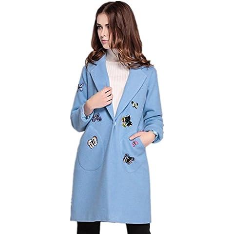 ZYQYJGF Trench Da Donna Lana Cappotti Farfalla Stampa Ricamato Cashmere Avvolgere Loose Tinta Colore Lunga Manica Blu . S