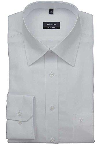 eterna Langarm Hemd Comfort Fit Popeline Unifarben Weiß