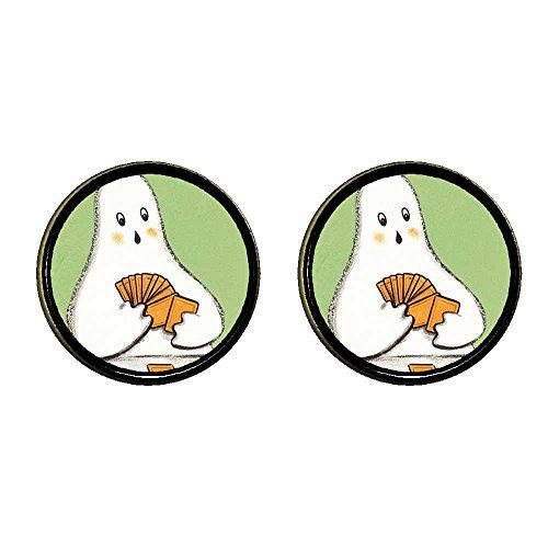giftjewelryshop Bronze Retro-Stil Halloween Ghost Play Card Photo Clip auf Ohrringe 12mm Durchmesser
