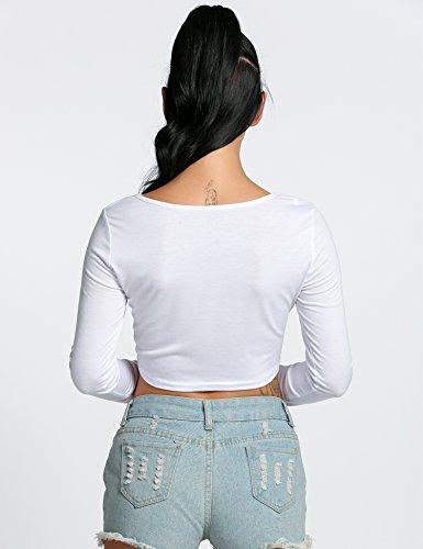 ZEARO Clubwear Damen Langarmshirt kurz Bauchfreies Top Oberteile Weiß