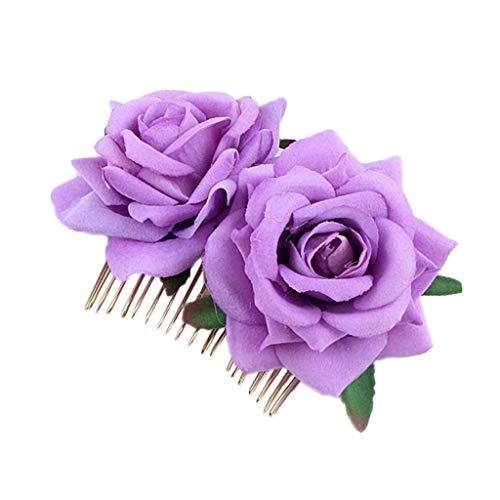 QIUMINGSS Damen Brautkop Fschmuck Crown Prinzessin Süß Elegant Luxus Hochzeits Geburtstag Zusatz Einfache Blumen Haar Kamm Hochzeits Zusatz Rote Rosen Einsatz