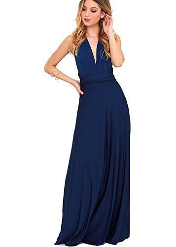 ZEARO Abendkleid Damen Kleider Abendkleid elegant Vintag Kleider hochzeit festlich Partykleid lang Dunkelblau