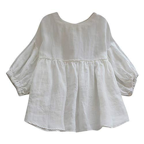 UFODB Linen Dress Women Oversize S-5XL, Damen Bohemia Button Solid Casual Sommer Kleid Frauen Loose T-Shirt Bluse O-Neck Einfarbig Kurze äRmel Kleider Freizeit Blusekleid - Damen Jacquard Rib