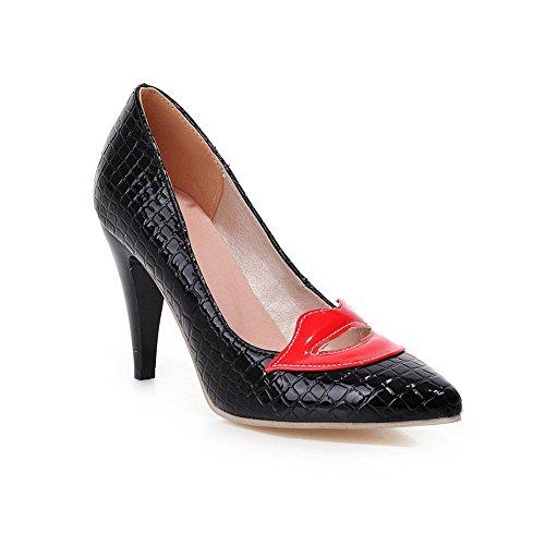 balamasa pour femme à enfiler en cuir embossé massif High-Heels pumps-shoes Noir