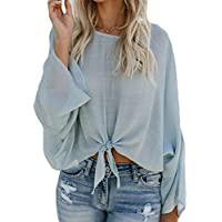 Yying Damen O Neck Front Knot T-Shirt Langarm beiläufige Lose Tops Bluse S-XL