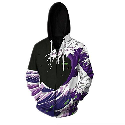 Reißverschluss Hoodiesharajuku Stil Sea Wave Männer Frauen O-Neck Hoody Neuheit lila Farbe 3D-Hoodies Plus Size (Hoodie Size Camo Plus)