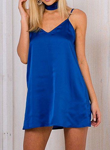Futurino - Robe - Tunique - Uni - Sans Manche - Femme Bleu
