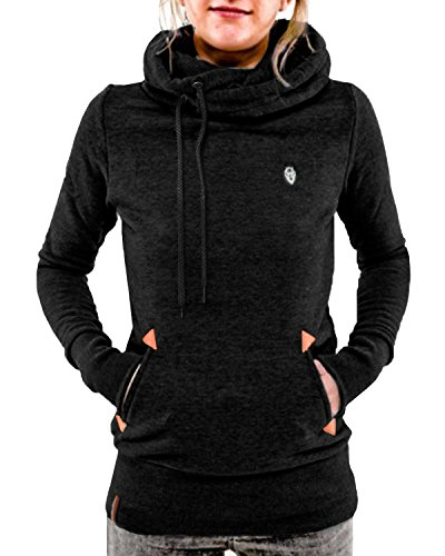 ZANZEA Damen Baumwolle hohe Kragen Hoodies Pullover Langarm Jacke Top Sweatshirt mit Kapuzen elastisch Jumper Schwarz 42