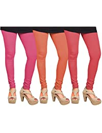 CAY 100% Cotton Combo of Pink, Orange and Baby Pink Color Plain, Stylish & Most Comfortable Leggings For Girls & Women with Full Length (SIZE : Free Size)