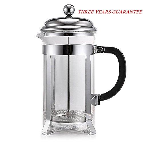 Homdox Presse française, Machine à espresso avec résistant à la chaleur en verre et acier inoxydable piston, 8 tasses (34 Oz)