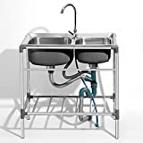 HomeLava 304 Edelstahl Spülbecken Campingküche Spültisch Mobiles Waschbecken 760 x 420 x 800 mm 2 Becken (Ohne Wasserhahn)