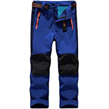 "SiDiOU Group Deporte al aire libre Pantalones de Trekking Niño Pantalones de Montaña Softshell Pantalones Impermeable Pantalones Senderismo Niña Pantalones de Escalada Chicas Pantalones Forro Polar (XS 21""(cintura: 54cm-68cm), Azul oscuro)"