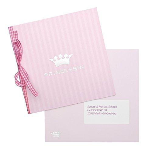 """Geburtskarten\""""Prinzessin\"""" - 15 Babykarten in rosa mit silbernem Krönchen und Satinband im Set - Grußarten, Dankeskarten zur Geburt oder Taufe - zum einfachen Selbstbedrucken"""