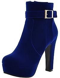 ENMAYER Mujer Nubuck cuero tacones altos redonda dedo del pie hebilla Plataforma bloquea talones sólidos tobillo botas