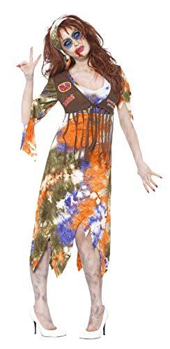 Smiffys, Damen Zombie-Hippie Kostüm, Kleid mit angebrachter Weste und Kopftuch, Größe: M, 61105
