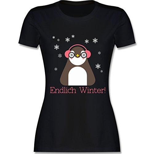 Wintersport - Endlich Winter Pinguin kalt - tailliertes Premium T-Shirt mit Rundhalsausschnitt für Damen Schwarz