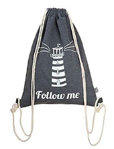 Gilde Textil 1 x Beutel Stoffbeutel Turnbeutel mit Kordel phosphorisierend leuchtend B = 33 x H = 45 cm grau Leuchtturm Follow me