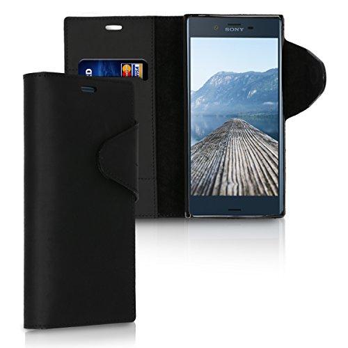 kalibri-Hlle-fr-Sony-Xperia-XZXZs-Echtleder-Wallet-Case-Schutzhlle-mit-Fach-und-Stnder-in-Schwarz
