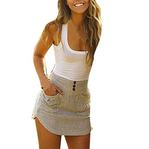 Damen Elegant A-linie Retro Sommerkleid Minikleider Strandkleid Kleid Ärmellos Irregular Wickelkleider (EU40-XL, Weiß) (60er-jahre-smoking)