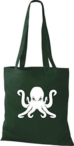 T-shirt In Tessuto Borsa In Cotone Borsa A Vela Polpo Polpo Verde