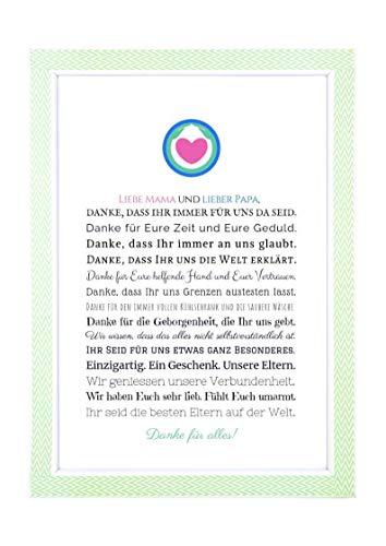 Danke Mama und Papa - Danksagung für Eltern Bild optional mit Rahmen – Geschenk Geschenkidee Geburtstag Hochzeitstag Mutter Vater Kunstdruck DIN A4