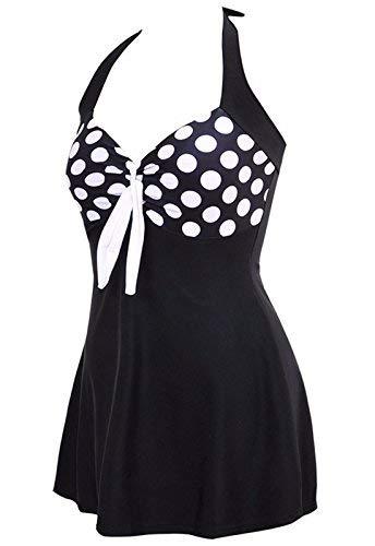 ALICECOCO Damen Retro Polka Schwimmen Kostüm Kleid Plus Size ein Stück Bademode mit Boyshort ()