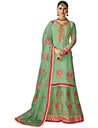 Shoppingover Women's Georgette Semi-Stitched Salwar Kameez with Palazzo (2002BDp, Green, Free Size)