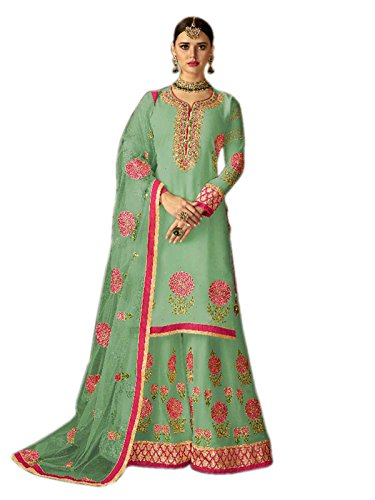 Shoppingover Designer Party wear Bridal Collection Salwar Kameez with Redy made Plazo-Green...