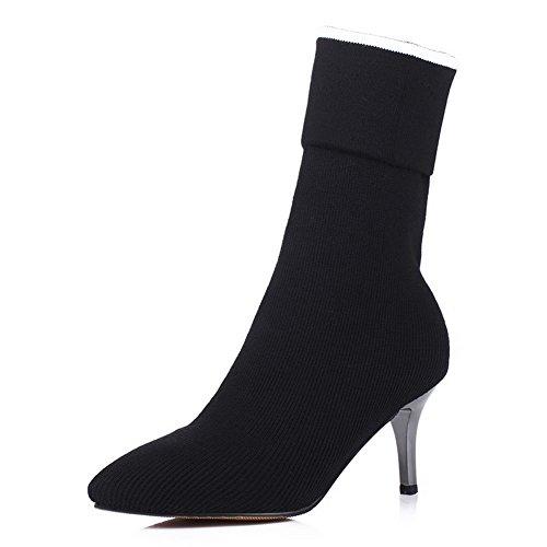 AgooLar Damen Gemischte Farbe Stiletto Spitz Zehe Blend-Materialien Ziehen Auf Stiefel Schwarz
