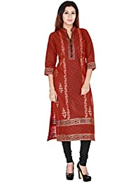 Zoeyams Women's Mahroon Cotton Block Prints Long Straight Kurti