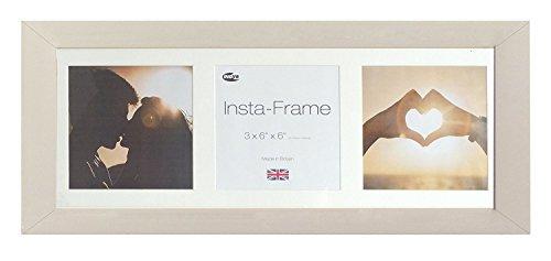 Inov8 21 x 8 Insta-Frame-Bilderrahmen für 3 Bilder, Instagram, quadratisch, mit weißer Halterung und weißen Einsatz, weich, Grau -