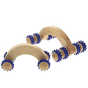 Massageroller Aus Holz Massagegert Kosmetex Massagehandroller Mit Blauen Kunststoffnoppen