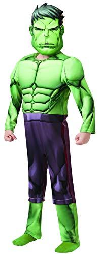 Fancy Ole - Jungen Boy Kinder Hulk Deluxe Kostüm aus Avengers Assemble mit Muskelpolster Einteiler und Maske, perfekt für Karneval, Fasching und Fastnacht, 128-140, Grün