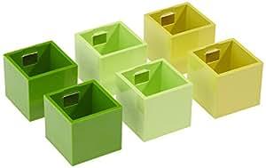 KalaMitica Set 6 Cubes, Pots Magnétiques,  Ø 3,5 cm, Vert