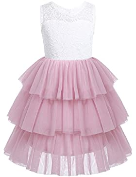 iEFiEL Vestido de Princesa Fiesta Ceremonia Boda Vestido Floreado Bautizo para Niña (2-14 Años)
