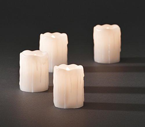 KONSTSMIDE 4 LED velas de cera de vela funciona con pilas velas de cera auténtica con batería