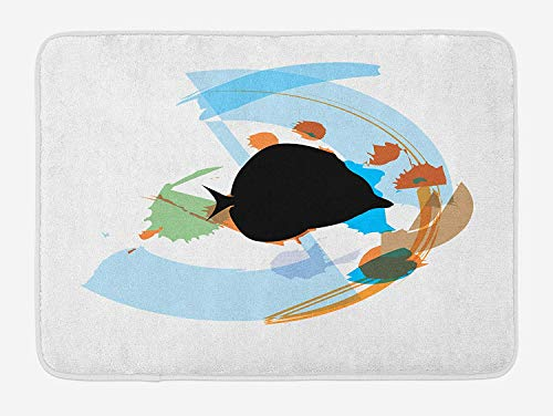 ARTOPB Fish Bath Mat, Silhouette of a Discus Cichlid in a Partly Illustrated Bowl Cartoon in Pastel Colors, Plush Bathroom Decor Mat with Non Slip Backing, 23.6 W X 15.7 W Inches, Multicolor (Magic Fish Bowl)