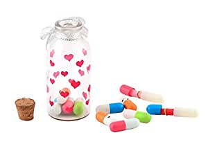 Shvas Little Message Bottle With A Exclusive Finger Ring + Multi Color Capsules & Message Writing Paper