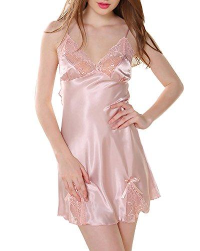 Femmes Chemise de Nuit Baydoll Lingerie en Satin Dentelle Pyjamas Nuisettes Robes Pink 2