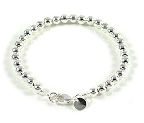 Edles Armband Frauen Muttertag Geschenk Mini Kugelkette Armreifen Perlen 925 Sterling Versilbert 60mm