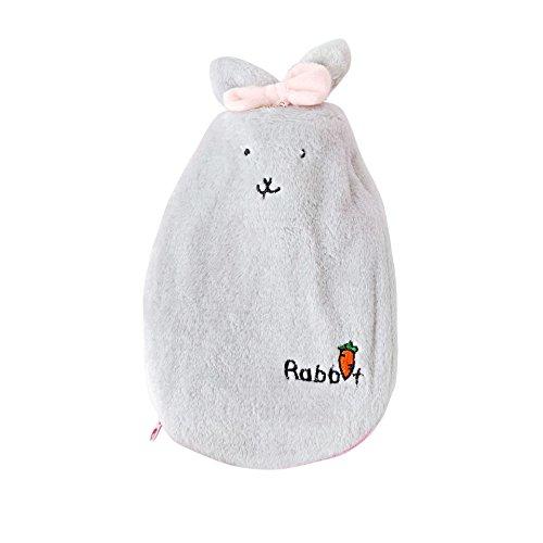 Scaldabiberon borsa termica per acqua calda con cappuccio riscaldato pad soft cover per lenire caldo freddo rilassante dolore caldo gonfiore sollievo donna bambini (gray)